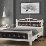 Кровать Карина-11 дуб молочный, светлая кожа