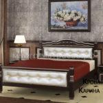 """Кровать """"Карина-11"""" орех темный, светлая кожа"""