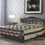 """Кровать """"Карина-11"""" орех темный бриллиант, темная кожа"""