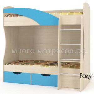 Кровать Радуга (дуб молочный/ голубая мармара)