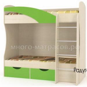 Кровать Радуга (дуб молочный/ мамба зеленая)