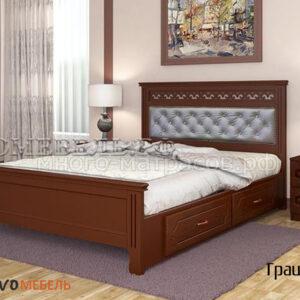 Кровать Грация (с ящиками) орех
