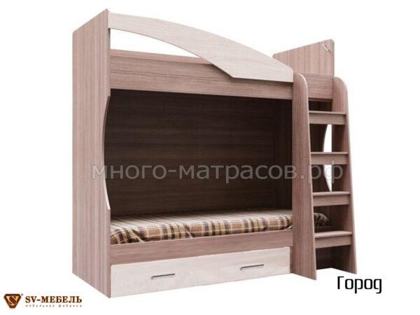 Кровать двухъярусная (с ящиком) Город
