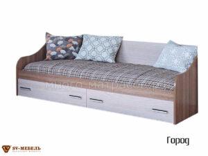 кровать одинарная с ящиками (с матрасом) город
