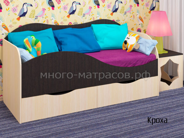 кровать кроха дуб венге - дуб молочный