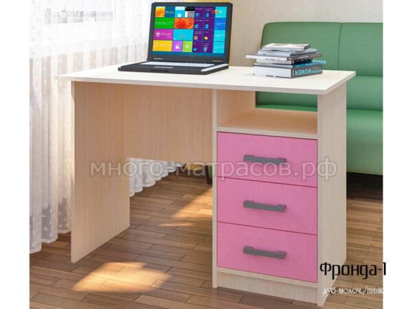 стол письменный фронда 1 дуб молочн - пинк