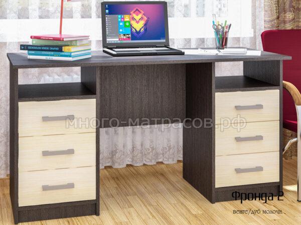 стол письменный фронда 2 венге - молочн