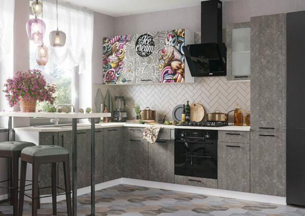 кухня олива бетон